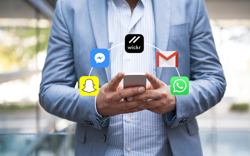 Business man on mobile phone with app icons