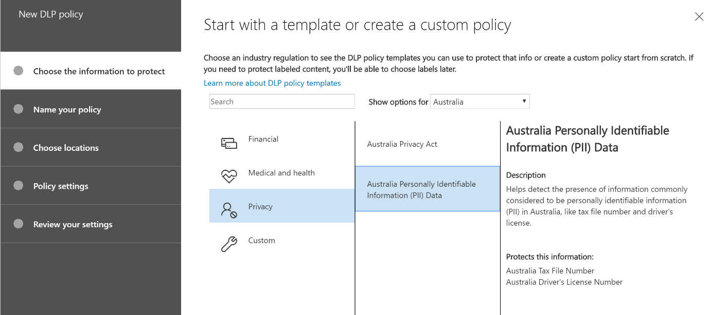 Office 365 Data Loss Prevention Policy Screenshot